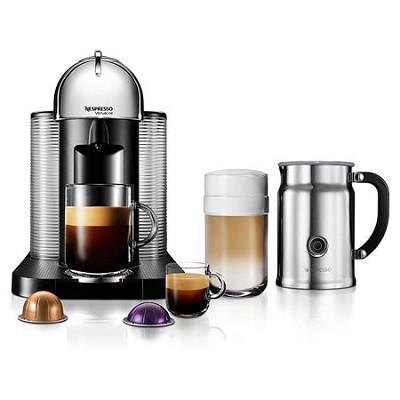VertuoLine Coffee and Espresso Maker with Aeroccino Plus Milk Frother, Chrome