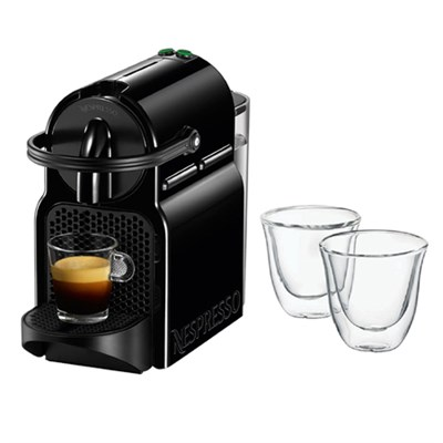 Inissia Espresso Maker, Black w/ Double Walled Thermo Espresso Glasses, Set of 2