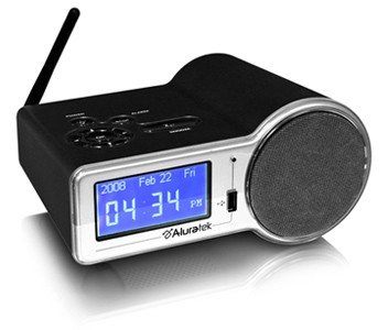 aluratek internet radio alarm clock with built in wifi airmm01f. Black Bedroom Furniture Sets. Home Design Ideas