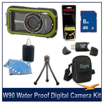 Optio W90 Water Proof Compact Digital Camera 8GB Green Bundle