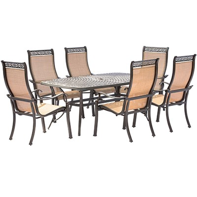 Manor 7PC Dining Set: 6 Sling Chairs and 38 X72  Cast Table
