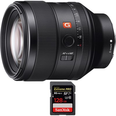 FE 85mm F1.4 GM Full Frame E-Mount Lens with SDXC 128GB UHS-1 Memory Card