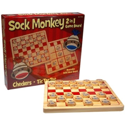 Classic 2 in 1 Reversible Checkers and Tic-Tac-Toe Game Board