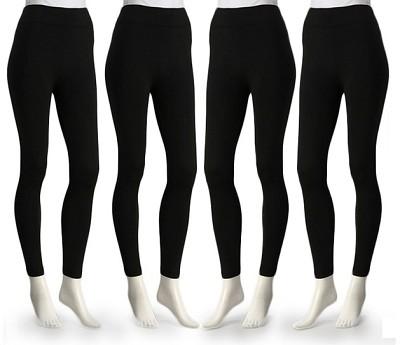 4-Pack Midnight Black Fleece Lined Leggings X-Large Size ( 1X/2X )