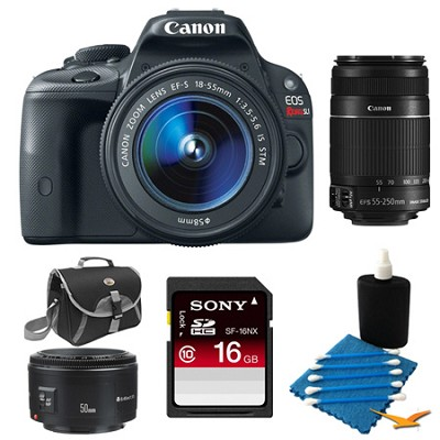 EOS Rebel SL1 SLR Digital Camera Triple Lens Bundle With 16GB High Speed Card