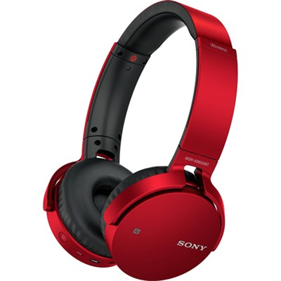 MDR-XB650BT Wireless Bluetooth Headphones w/ Extra Bass - Red - OPEN BOX