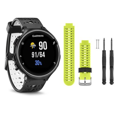 Forerunner 230 GPS Running Watch, Black/White - Force Yellow Watch Band Bundle