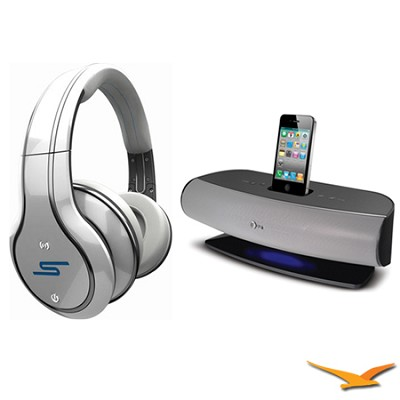 SYNC by 50 Wireless Over-Ear WhiteHeadphones with AT&T SongStream Music Dock