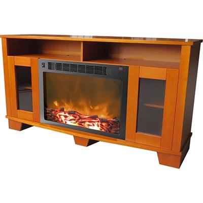 Savona Fireplace Mantel with Electronic Fireplace Insert in Teak - CAM6022-1TEK
