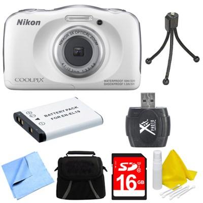 COOLPIX S33 13.2MP Waterproof Shockproof Digital Camera White Deluxe 16GB Bundle