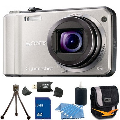 Cyber-shot DSC-H70 Silver Digital Camera 8GB Bundle