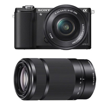 Alpha a5000 Mirrorless 20.1MP Digital Camera with 16-50mm and 55-210mm lens