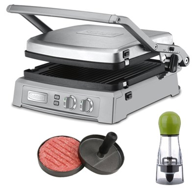 Griddler Deluxe - Brushed Stainless w/ Spice Mill &  Burger Press Patty Maker