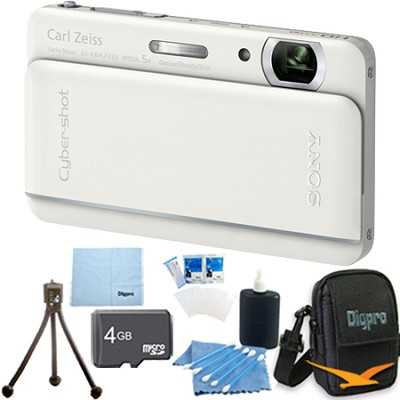 Cyber-shot DSC-TX66 18.2 MP CMOS Camera 5X Zoom 3.3` OLED (White) 4GB Memory Kit