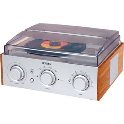 JTA220 3-Speed Stereo Turntable with AM/FM Radio (Silver) JTA-220