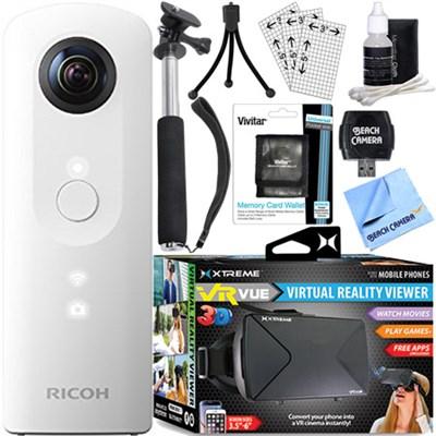 Theta SC 360 Degree Full HD Spherical Digital Camera + VR Bundle (White)
