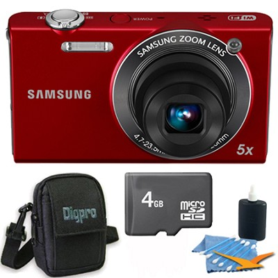 SH100 Red Digital Camera 4 GB Bundle