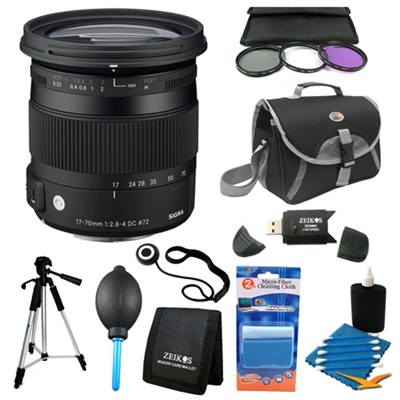 17-70mm F2.8-4 DC Macro OS HSM Lens for Sony/Minolta Deluxe Filter Kit Bundle