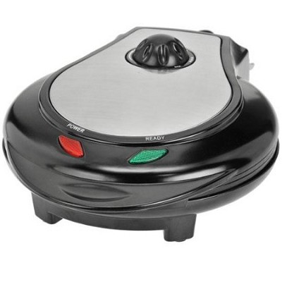 Black/Stainless Steel Heart Shape Waffle Maker