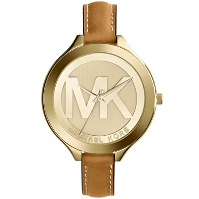 Slim Runway Leather And Gold-Tone Women's Watch - MK2326