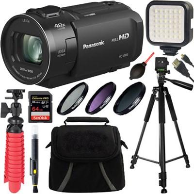 Full HD Camcorder w/ 24x LEICA DICOMAR Lens (Black) HC-V800 + 64GB Accessory Kit