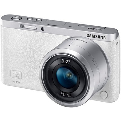 NX Mini Mirrorless Digital Camera with 9-27mm Lens and Flash - White