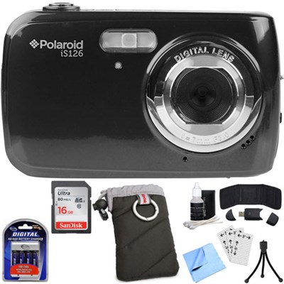 IS126-BLK-TA Polaroid 16.1MP Black Digital Camera with Accessory Bundle