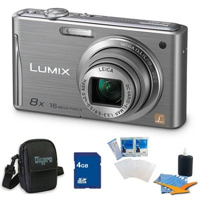 Lumix DMC-FH27 16MP 8x Zoom Silver Digital Camera w/ 3.0` Touchscreen 4GB Bundle