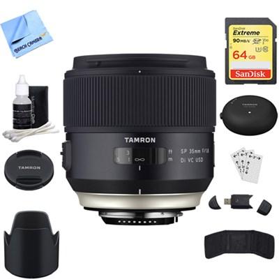 SP 35mm f/1.8 Di VC USD Lens for Nikon Mount + Accessories Bundle