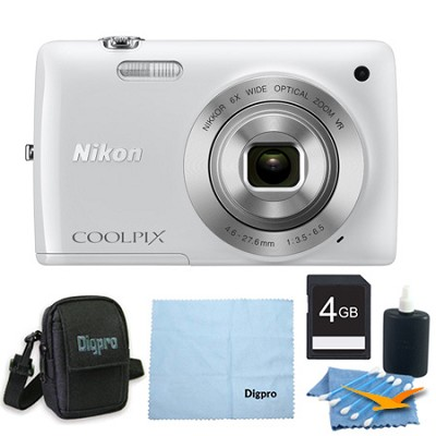 COOLPIX S4300 16MP 3-inch Touch Screen Digital Camera White Bundle
