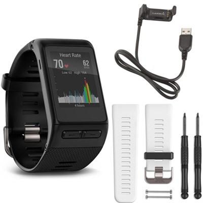 vivoactive HR GPS Smartwatch - X-Large Fit (Black) White Band Deluxe Bundle