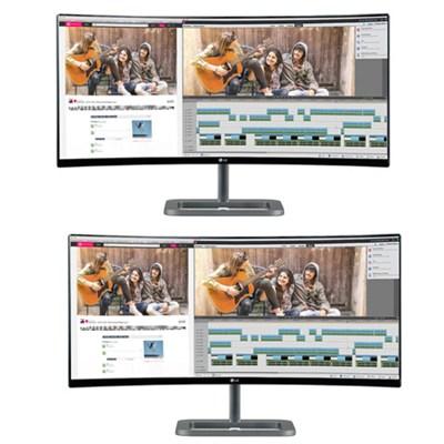 2 34UC87-C IPS 21:9 34` Curved UltraWide QHD LED-Lit Monitors Bundle