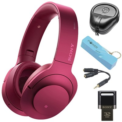 Wireless NC On-Ear Bluetooth Headphones w/ NFC Pink w/ 32 GB Flash Drive Bundle