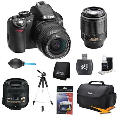 D3100 14MP DX-format Digital SLR w/ 18-55mm, 55-200mm and 40mm Lens Kit