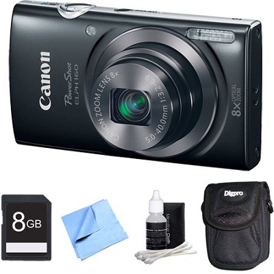 PowerShot ELPH 160 20MP 8x Opt Zoom HD Digital Camera - Black 8GB Bundle
