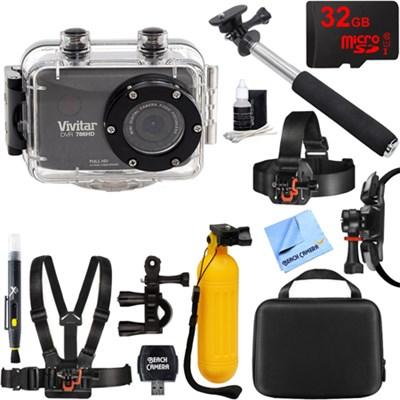 HD Action Waterproof Camera / Camcorder Black 32GB Outdoor Mount Kit