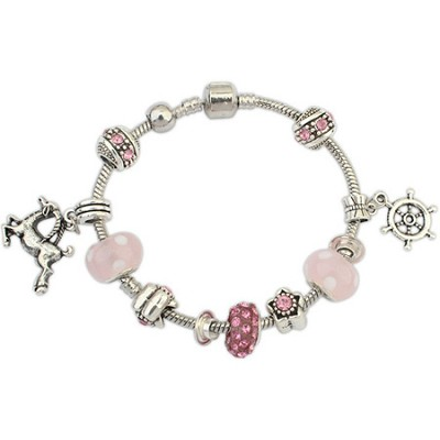 White Gold Rhodium Crystal and Alloy Charm Bracelet - Pink