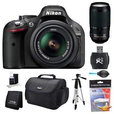 D5200 DX-Format Digital SLR Camera 18-55mm and 70-300mm AF-S VR Lens Kit
