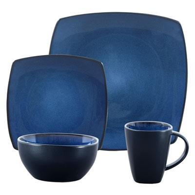 SoHo Lounge Stoneware Blue16pc