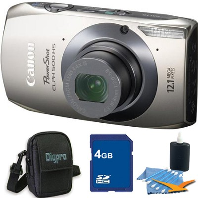PowerShot ELPH 500 HS Silver Digital Camera 4GB Bundle