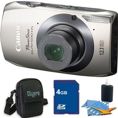 PowerShot ELPH 500 HS Silver Digital Camera 4GB Bundle