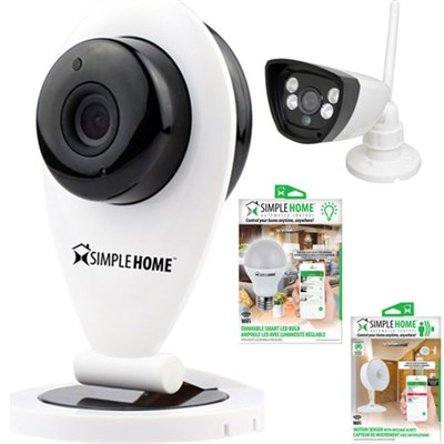 WiFi Motion Detection Security Camera w/ Outdoor Camera, LED Bulb, Motion Sensor