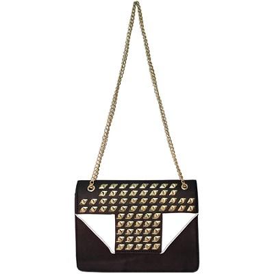 Megan Studded Sequin Handbag with Flap (White) - MEGAN-WHT