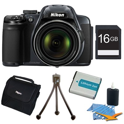 COOLPIX P520 18.1 MP 42x Zoom Digital Camera - Dark Grey Plus 16GB Memory Kit