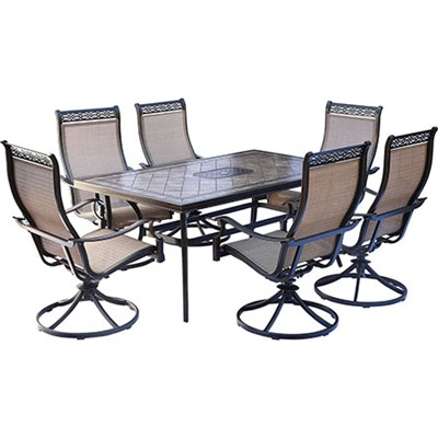 Monaco 7-Piece Dining Set w/ Six Swivel Rockers and Dining Table - MONDN7PCSW-6