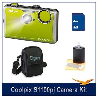 COOLPIX S1100pj Green Digital Camera Kit w/ 4 GB Memory, Case, & More