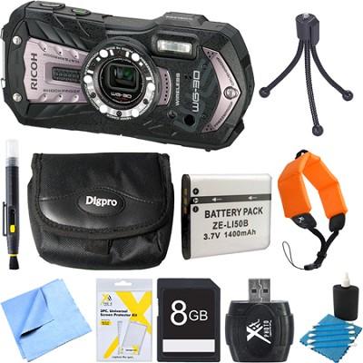 WG-30W Digital Camera with 2.7-Inch LCD Carbon Gray 8GB Bundle