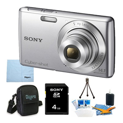 Cyber-shot DSC-W620 Silver 4GB Digital Camera Bundle
