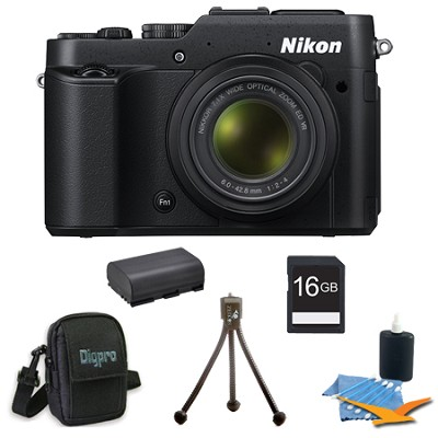 COOLPIX P7800 12.2MP 7.1x Opt Zoom 3` LCD Black Digital Camera 16GB Kit