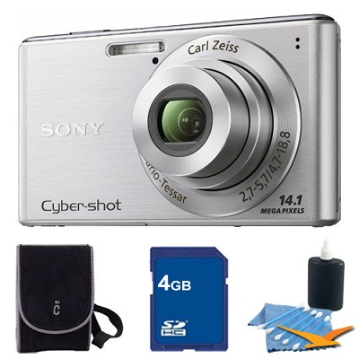 Cyber-shot DSC-W530 Silver Digital Camera 4GB Bundle